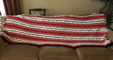 "Red Grey Black White - Hand Crocheted Throw - 74""x 36"""