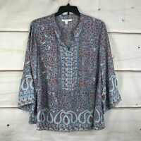 Single Thread Plus Size Floral Print 3/4 Bell-Sleeve Womens 2X Blue Blouse Top