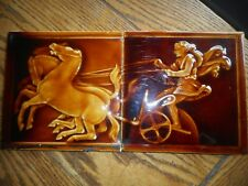 "2-Trent 6"" Tiles~Architectural Roman Chariot Racer Horses Raised Relief-c. 1882"