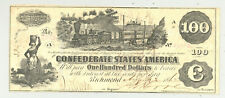 Confederate $100 1862 T-39 Train issued by James T. Miller, Civil Agent, nice Cu