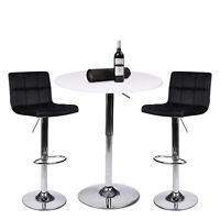 3 Piece Dining Set Pub Table with 2 Bar Stools Counter Height Adjustable Kitchen