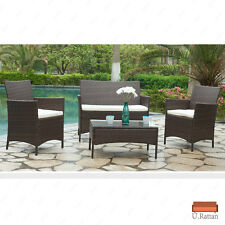 4Pc Rattan Wicker Patio Furniture Set Outdoor Cushioned Sofa & Table Garden Lawn