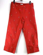LIZGOLF Womens 6 CATHERN Corduroy RED Embroidered GOLF BAGS CROP Capris PANTS