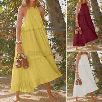 ZANZEA Women's Cotton Patchwork Ladies Loose Strappy Long Maxi Dress Bohemian