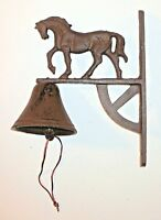 New~Cast Iron Horse Motif Wall Mount~Nice Sound~Cabin Lodge Stable Barn Cottage