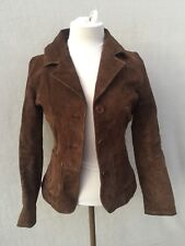 Rue 21 Womens Jacket Sz S Brown Suede Leather Collar Button Front Belted