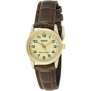 NEW LADIES  CASIO EASY READ WATCH GOLD DIAL BROWN CROC LEATHER STRAP