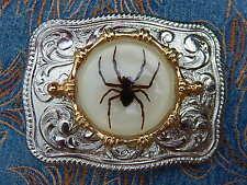 NUOVA Argento realizzato a mano in Metallo Fibbia della Cintura Western Fantasma Ragno Gotico Cowboy