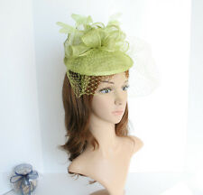 NEW Church Derby Wedding Sinamay w Feather Fascinator Cocktail Lime  408