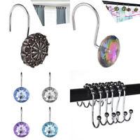 12 PCS Shower Curtain Rings Metal Acrylic Hooks Set Double Glide Bathroom Decor