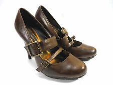 STEVE MADDEN LUXE ECHO brown leather double buckle stylish dress pumps 10