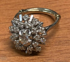 Ladies 14K White Gold Ring Sz 6-6.5 Genuine Diamond Cluster