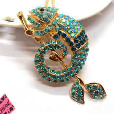 New Betsey Johnson Blue Rhinestone Bling Branch Gecko Crystal Pendant Necklace