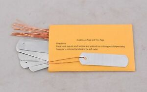 100 ZINC TRAP TAGS, No Rust, traps trapping plants trees