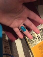 Real turquoise stone ring sterling silver size P