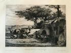 Francois Flameng ORIGINAL ETCHING of Marilhat's CARAVAN (Camels, Arabian) 1876