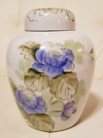 Vintage Ginger Jar Blue Flowers Floral Made in Japan