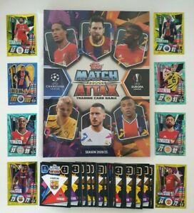 2020/21 Match Attax UEFA - 100 cards (20 shiny inc 100 Club/Limited) FREE Folder