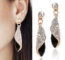 UK Ladies Womens Gold plated Water Drop Earrings Black Dangle Rhinestone Crystal