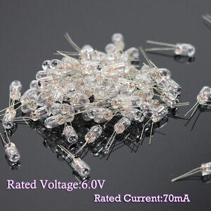 100pcs Clear 4.7mm 6.0V 70mA Miniature Grain of Wheat Bulbs Warm White New