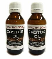 2 x 100ml Certified Organic CASTOR OIL ~ Cold Pressed Premium Pure Hexane Free