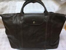 NWT Longchamp Le Pliage Cuir LG Medium Top Handle Khaki Brown Leather Taupe Neo