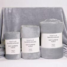 Textile Warehouse Super Soft Large Sofa Bed Faux Fur Mink Fleece Blanket Throw Grey Double