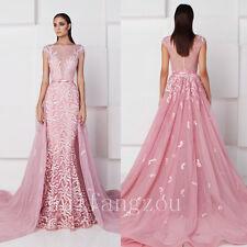 Hot Pink Detachable Train Wedding Dresses Bridal Gowns Size 4 8 12 16 Plus