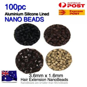 Hair Extension Bead Rings NANO 100pc Silicone Lined Aluminium 3.6mm x1.6mm Micro