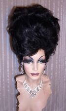Drag Queen Wig Big Tall Up Do No Bangs Jet Black Curls French Twist