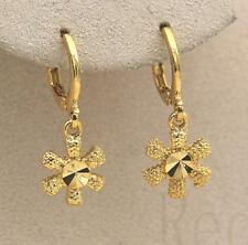 18K Gold Filled - Snowflake Flower Rivets Dangle Party Hoop Earrings Jewelry