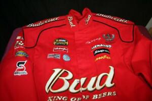 """CHASE AUTHENTICS DALE EARNHARDT JR. """"KING OF BEERS"""" RED BUDWEISER JACKET SIZE XL"""