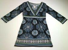 Max Studio Women's ¾ Sleeve Dress Small S Crossover Neck Empire Waist Stretch