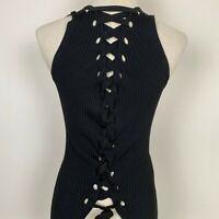 Zara Women's Lace-up Back Stretch Black Top Size S ~ Free AU Post!