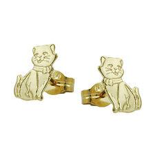 Echt Gold 585 Mädchen süße Katzen Ohrstecker Katze Kinder Ohrringe 14 Kt Karat