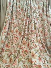 Gorgeous Raymond Waites Linen Drape Curtain Panel Floral Lined Triple Pleat