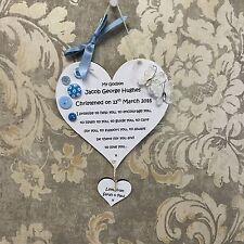 christening baptism godson godchild gift personalised heart wall hanging plaque