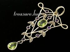 CP438 GENUINE 9k 9ct Yellow Gold NATURAL Amethyst & Peridot Pendant Vintage styl