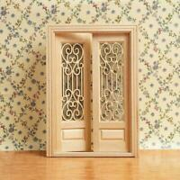 1:12 Dollhouse Miniature Wood Wooden Double Door Can Be Painted 13.6*1.3*19 C8U5