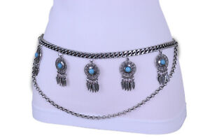 Women Casual Belt Silver Metal Chain Feather Turquoise Blue Beads Charm M L XL