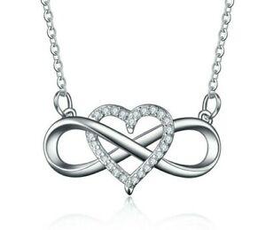 Damen Halskette Unendlichkeit Infinity Anhänger Collier 925 Silberkette Geschenk