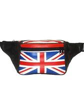 GENUINE LEATHER BRITISH FLAG FANNY PACK WAIST BAG