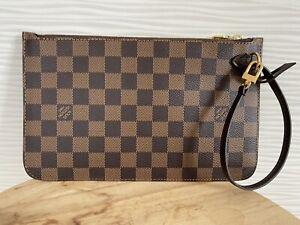 NEW Louis Vuitton Neverfull Pochette Damier Ebene clutch Pouch