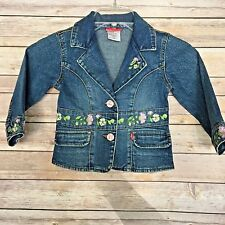 Levis Jeans For Girls Red Tab Jean Jacket Embroidered Flowers Size 3T