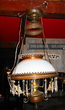 Antique Electrified Hanging Prism Ceiling Light / Lamp w/ Glass Shade