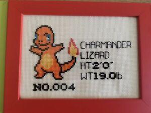 Cross Stitch Kit - Pokemon - Charmander Pokedex