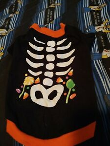 Halloween Skeleton Small Dog Pet Tee Costume candy size small