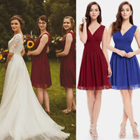 Ever-Pretty US V-neck Chiffon Bridesmaid Dresses Short Cocktail Dress Burgundy
