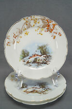 Set of 3 Bawo & Dotter Hand Colored Winter Scenic House Plates Circa 1883 - 1914