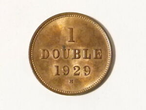1929 H Guernsey 1 Double Copper Coin Lustre & Toned #T40